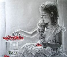 [A Girl with Cherries] Beautiful paintings by Maria Zeldis