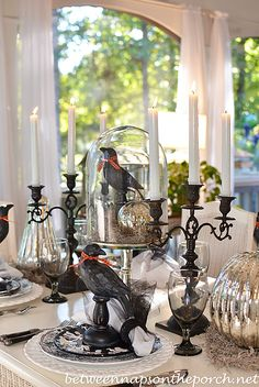 Halloween Table Setting with Mercury Glass Pumpkins and Crow Centerpiece