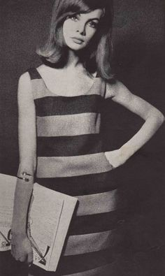 Jean Shrimpton modelling a striped shift dress