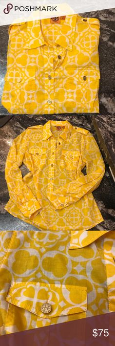 TORY BURCH Gorgeous blouse Tory Burch pullover blouse with with 5 buttons to wear open with a tank or button up for a more tailored look.  Light airy, all buttons have stacked T logo in gold hardware.  Size 12. Warm yellow and white.  100% cotton Tory Burch Tops Blouses