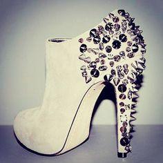 White, spikey, sparkly booties. Design works No.1736 |2013 Fashion High Heels|