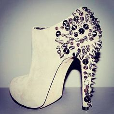 White, spikey, sparkly booties. Design works No.1736 |2013 Fashion High Heels|