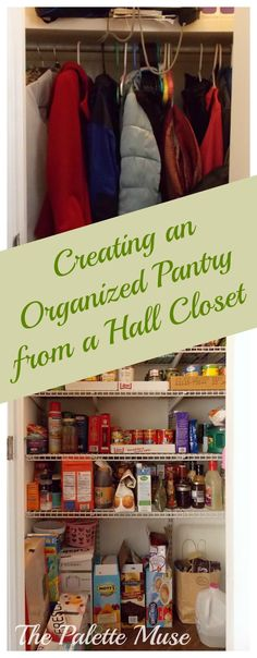 It's not hard to create an organized pantry out of a hall closet. This pantry organizing project is more of a pantry creation project, really.