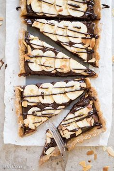 This No-Bake Chocolate Banana Tart has an easy date crust, filled with creamy chocolate ganache and sliced bananas - quick and simple recipe is only has five ingredients and it's gluten-free, paleo and vegan.