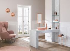 Cuarto de baño en rosa cuarzo
