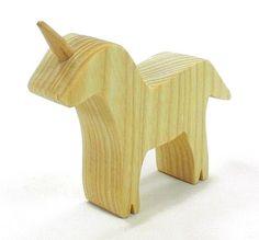 Unicorn Toy  Natural Wood Toy by HappyBungalow on Etsy, $10.00