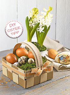 Ab ins Körbchen! Mit Wellpappe können Sie das perfekte Körbchen zur Ostereiersuche kreieren und nach Belieben füllen.