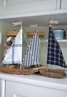 driftwood sailboats with plaid and stripe sails