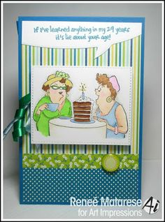 Art Impressions Rubber Stamps: Out To Lunch Set, Ai Girlfriends ...handmade card. cake speech bubble birthday
