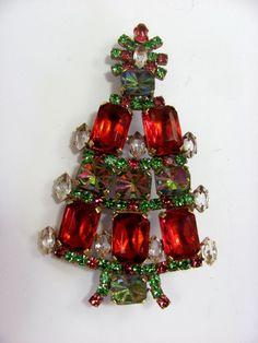 Czech Rhinestone A Christmas Tree Brooch Husar D A402 | eBay