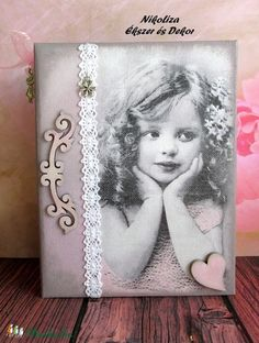 Vintage kislányos fotóalbum (8) (NikoLizaDekor) - Meska.hu Techno, Vintage, Frame, Diy, Home Decor, Photos, Photograph Album, Picture Frame, Decoration Home