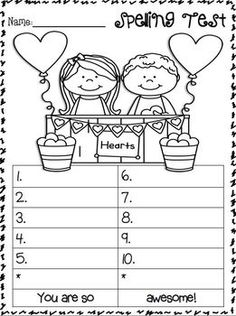 spelling test freebies students can color the picture while they are waiting for the next word. Black Bedroom Furniture Sets. Home Design Ideas