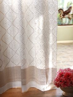 Vanilla Glacé ~ White Gold Romantic Elegant Luxury Curtain