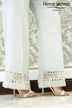Designer Indian & Pakistani Mint Embellished Trousers available in Salwar Trousers, Embroidered Trousers and Bootcut trousers. Designed in London UK. Free delivery over £75. Mint trousers with pearl embellishment on borderline. Can be ordered in trousers, cigarette trousers or boot cut trousers.̴Ì_ Please note delivery time is approximately 4-6 weeks. There is no exchange or refund̴Ì_on this product as this item will be customised especially for your order.