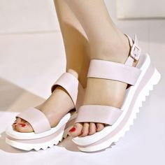 New Arrival Japan And Korea Style Women Flange Trifle Sandals For 5015 Summer on Luulla Ankle Straps, Ankle Strap Sandals, Wedge Sandals, Shoes Sandals, Women Sandals, Fashion Sandals, Fashion Boots, Sneakers Fashion, Korean Shoes