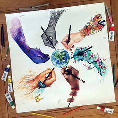 By elia_pelle dinotomic jojoesart scandy_girl vexx_art pavneetsembhi Amazing Drawings, Beautiful Drawings, Amazing Artwork, Beautiful Artwork, Cool Artwork, Art Drawings Sketches, Cute Drawings, Sick Drawings, Indie Drawings