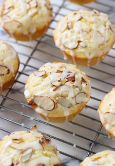 Lemon almond ricotta muffins are spongy and moist from the ricotta cheese and flavored with lemon juice and rind for a brightly flavored muffin. A quick and easy almond glaze tops them off for a sweet touch.