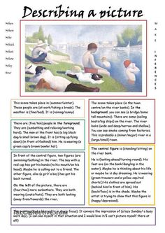 Describing a Picture - English ESL Worksheets for distance learning and physical classrooms English Writing Skills, English Reading, English Lessons, English Vocabulary, English Grammar, Teaching English, Learn English, English Language, English Class