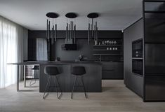 Are black kitchen cabinets trendy? The obsession of modern designers with black kitchen elements started a few years back and now is Kitchen Room Design, Home Room Design, Kitchen Cabinet Design, Modern Kitchen Design, Interior Design Kitchen, Kitchen Decor, Kitchen Ideas, Black Kitchen Cabinets, Black Kitchens