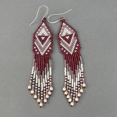 Ethnic style seed bead earrings  beaded jewelry by Anabel27shop,