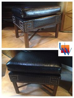 Foot stool with nails by Upholstery Works. Las Vegas, NV http://www.UpholsteryWorksLV.com