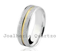 Aliança de prata Laura, par com 10 gramas, detalhe em ouro amarelo.  #aliança de namoro, #compromisso, #prata