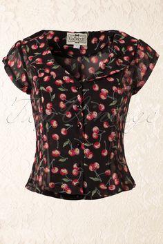2e56f81cfd431a 50s Violet Cherry Blouse Black. 50er Jahre ...