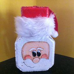 SANTA~Santa painted on a brick paver. Clay Pot Crafts, Christmas Projects, Holiday Crafts, Fun Crafts, Christmas Holidays, Crafts For Kids, Christmas Decorations, Brick Crafts, Wood Block Crafts