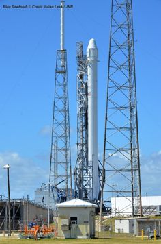 SpaceX Falcon 9 rocket preparing for April 14, 2014 liftoff from Space Launch Complex 40 at the Cape Canaveral Air Force Station, Fla.  Credit: Julian Leek