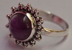 925 Sterling Silver Ethnic Ring 10mm Amethyst: Mystical Muse
