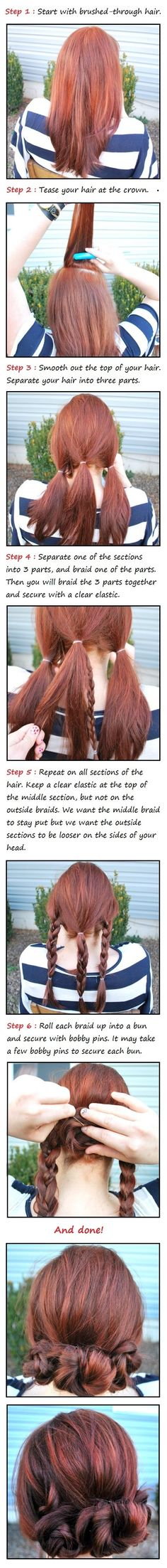 The three Braided Buns Hair Tutorial for ladies with longer hair or single braids. Very cute style for work, date or casual day of shopping and running errands. - Beauty Darling