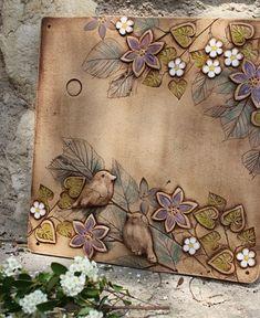 Clay Wall Art, Ceramic Wall Art, Tile Art, Slab Pottery, Ceramic Pottery, Ceramic Flowers, Clay Flowers, Pottery Handbuilding, Pottery Gifts