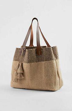 Image for Border-Stripes Jute Tote Bag from JJill Sacs Tote Bags, Reusable Tote Bags, Leather Purses, Leather Bag, Sacs Design, Jute Bags, Burlap Bags, Unique Purses, Fabric Bags