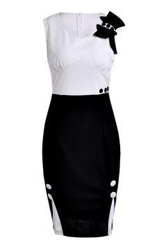 Elegant Women's Sweetheart Neck Button Embellished Sleeveless Dress