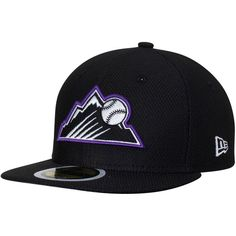 Colorado Rockies New Era Youth Diamond Era 59FIFTY Fitted Hat - Black