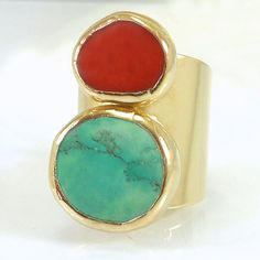 Hey, I found this really awesome Etsy listing at https://www.etsy.com/pt/listing/256712903/statement-ring-turquoise-ring-coral-and