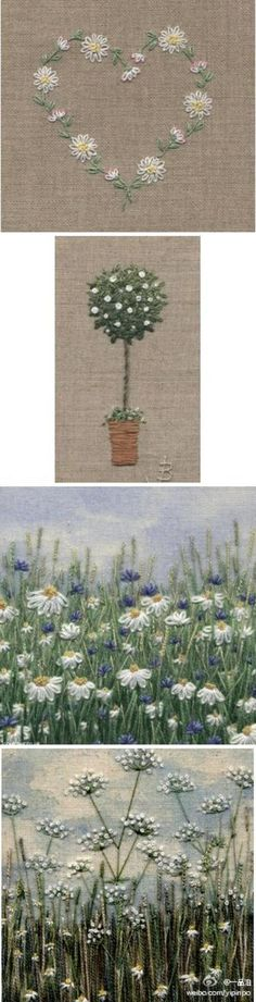 A brief example of some hand embroidery stitches and how to use them . Silk Ribbon Embroidery, Crewel Embroidery, Cross Stitch Embroidery, Embroidery Patterns, Machine Embroidery, Embroidery Works, Flower Embroidery, Bordados E Cia, Thread Painting