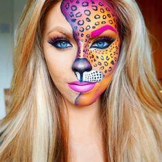 Halloween-Make-up-Idee für Frauen: Eine exklusive Auswahl von 99 Fotos auf Inst Cheetah Makeup, Animal Makeup, Cheetah Face Paint, Cool Face Paint, Cool Halloween Makeup, Halloween Looks, Scary Halloween, Halloween Costumes, Holiday Costumes