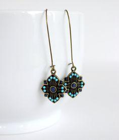 Long Tribal Turquoise Earrings on Kidney Earwires by belleonabudget