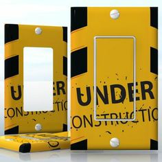 DIY Do It Yourself Home Decor - Easy to apply wall plate wraps | Under Construction  Chain-boom caution  wallplate skin sticker for 1 Gang Decora LightSwitch | On SALE now only $3.95