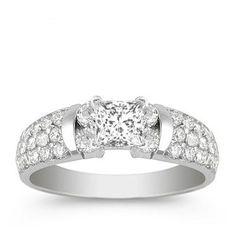 0.76 Carat Princess Diamond Engagement Ring Bridal Set Wedding Ring on 18K White Gold