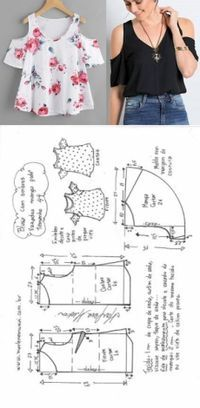 DIY - molde, corte Y costura Sewing Dress, Dress Sewing Patterns, Diy Dress, Blouse Patterns, Sewing Patterns Free, Clothing Patterns, Blouse Designs, Girls Dresses Sewing, Pattern Sewing