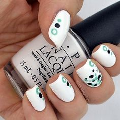"""@meltinpolish's photo: """"My first entry for #nailartsep!  This is a #simple mani for Day1. What's more simple than white??? I thought of a plain dotticure composed by @opi_products Alpine Snow plus @essiepolish Licorice and Turquoise&Caicos. Simple, isn't it..? #opi #essie #dotticure  #nails #mani #nailvarnish #naillacquer #nailjunkie #smalto #nailart #lacquer #nailsofinstagram #unhas #ongles #notd #vernis #unghie #polish #nailpolish #nailswag #nailsofinstagram #instanails #polishaddict…"""