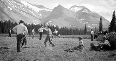 1930 miners play ball game at mountain park in alberta