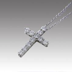 Tiffany & Company Estate Platinum Diamond Cross Pendant Necklace
