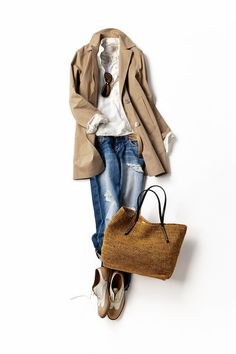 Camel coat and loose fit jeans