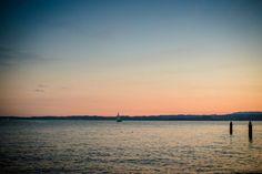Breathtaking view at Lago Di Garda, Italy Andreea & Alex- After wedding, Venezia & Lago di Garda Garda Italy, Glass Of Champagne, Amazing Sunsets, Beautiful Castles, Wedding Photoshoot, Venice, Travel Destinations, Beach, Water