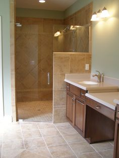 Walk In Shower Doors | Corner Walk in Tile Shower with Frameless Shower Door
