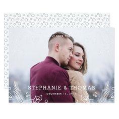 #Winter Flourish Save the Date Card - Frost - #weddinginvitations #wedding #invitations #party #card #cards #invitation #photo
