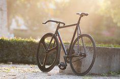 Black fixed gear bike